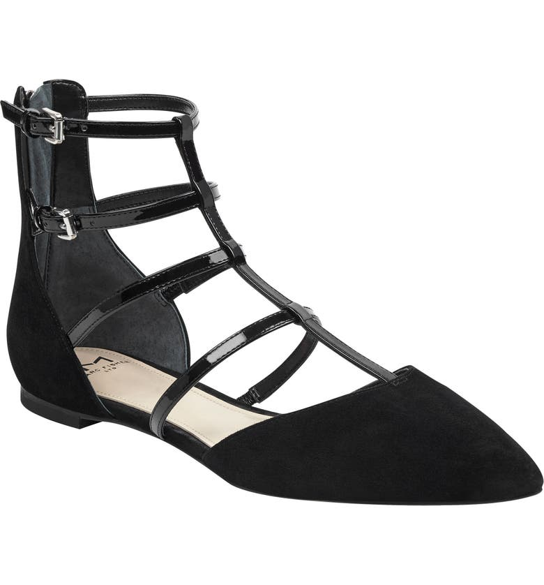 MARC FISHER LTD Scoutly Strappy Pointy-Toe Flat, Main, color, BLACK MULTI SUEDE