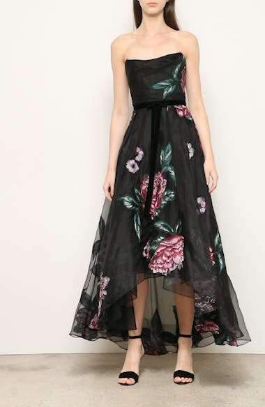 Strapless Embroidered High/Low Gown, video thumbnail