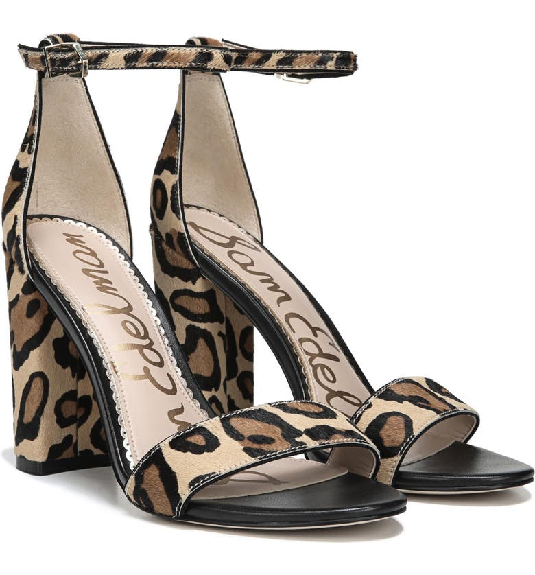 SAM EDELMAN Yaro Ankle Strap Sandal, Main, color, NEW NUDE LEOPARD CALF HAIR