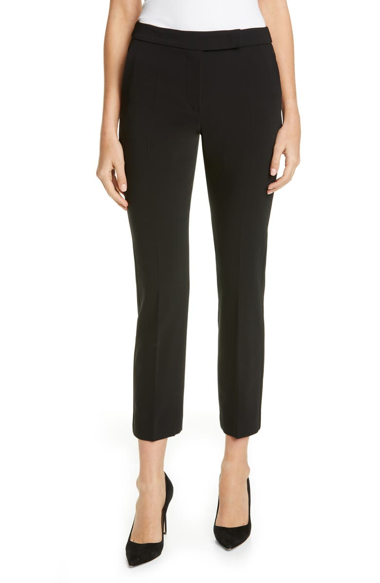 MAX MARA Louvre Slim Stretch Wool Ankle Pants, Main, color, BLACK