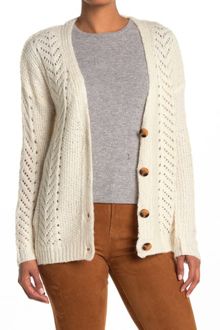 Image of Ceny Mix Cable Grandpa Knit Cardigan Sweater