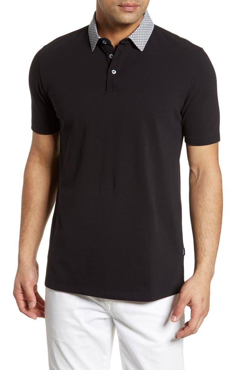 STONE ROSE Print Collar Polo, Main, color, BLACK