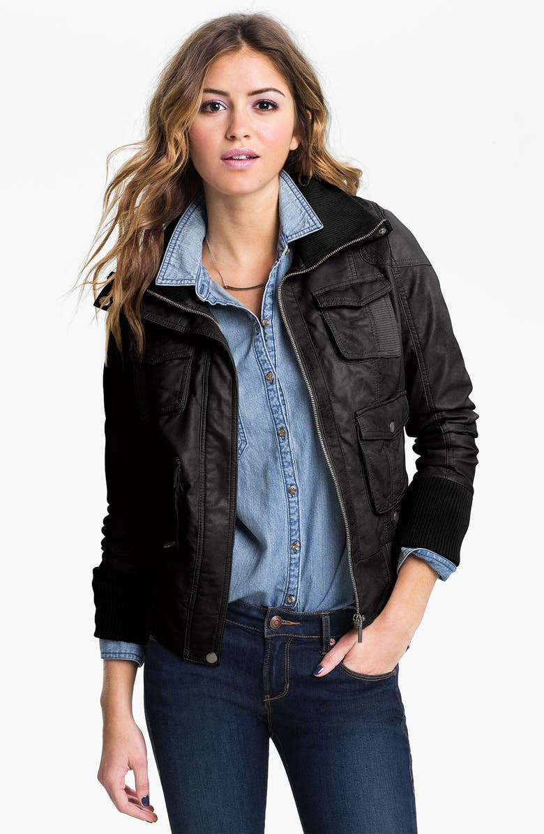 COLLECTION B Faux Leather Bomber Jacket, Main, color, 001