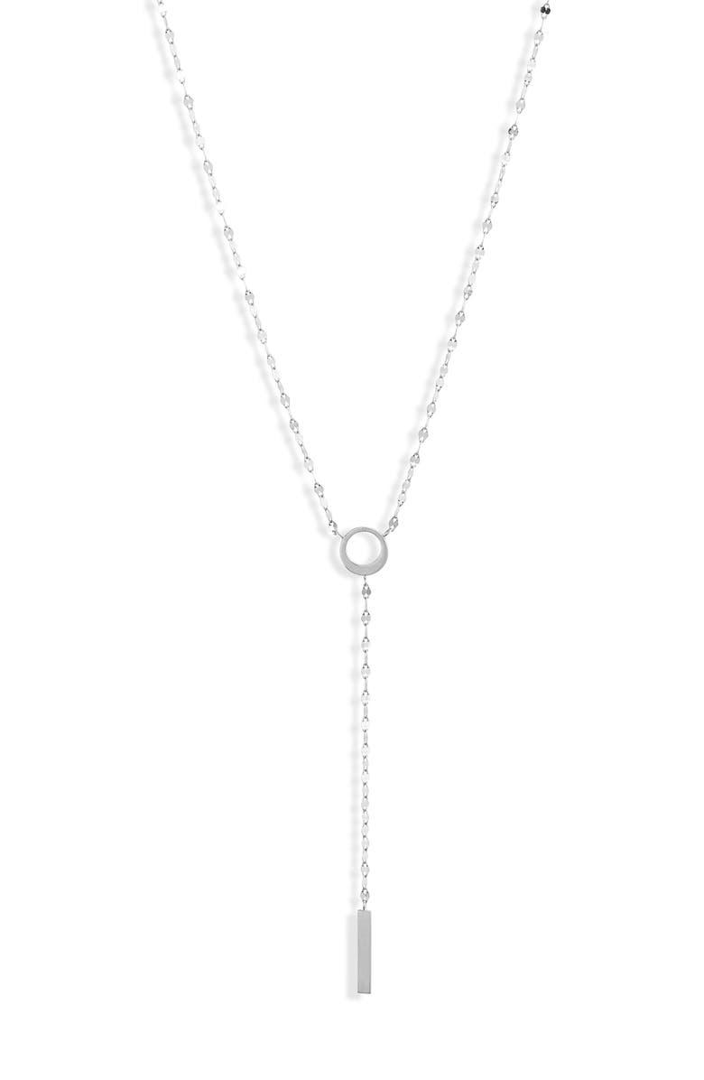 LANA JEWELRY Casino Bond Bar Pendant Y-Necklace, Main, color, WHITE GOLD
