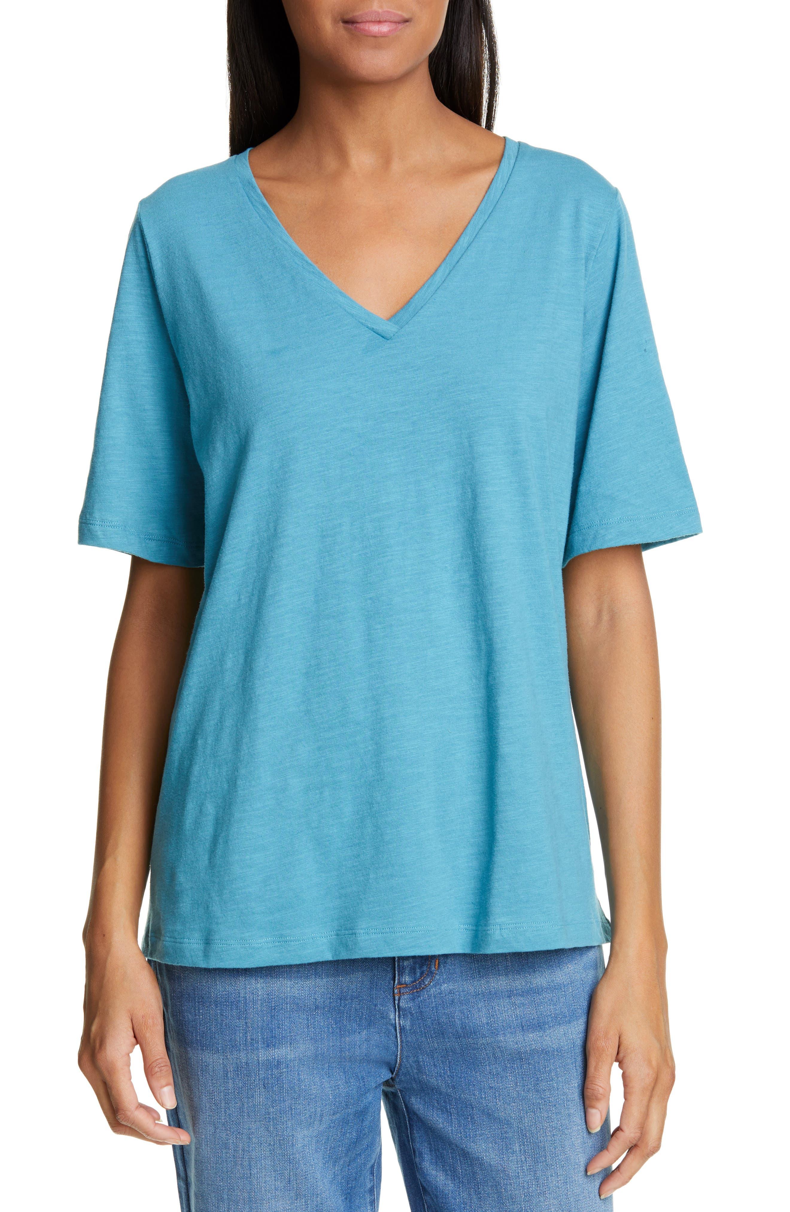 Eileen Fisher V-Neck Organic Cotton Tee, Blue