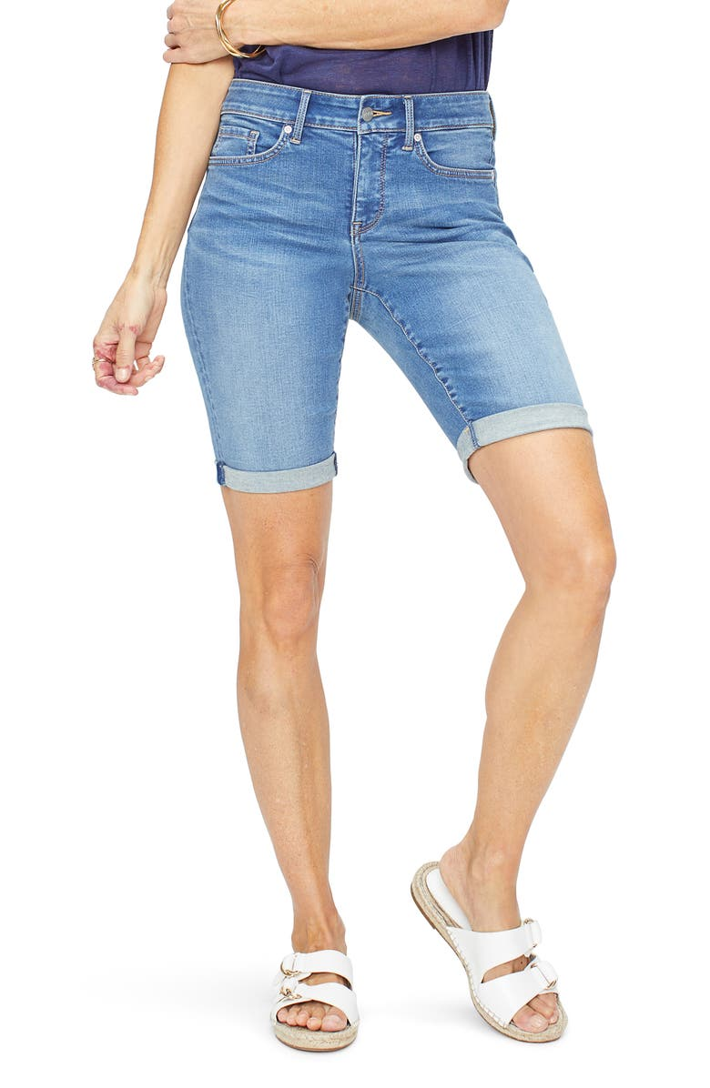 NYDJ Briella Rolled Denim Bermuda Shorts, Main, color, 422