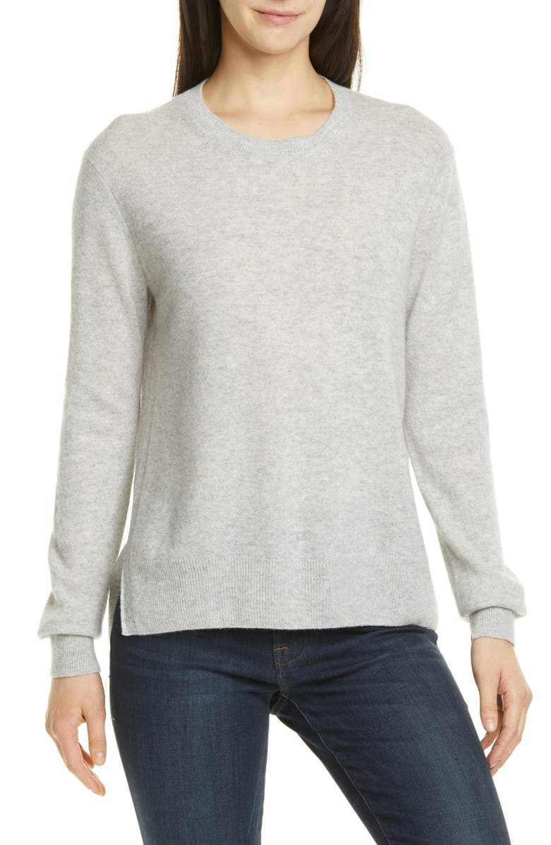VINCE Step Hem Cashmere Sweater, Main, color, HEATHER GREY