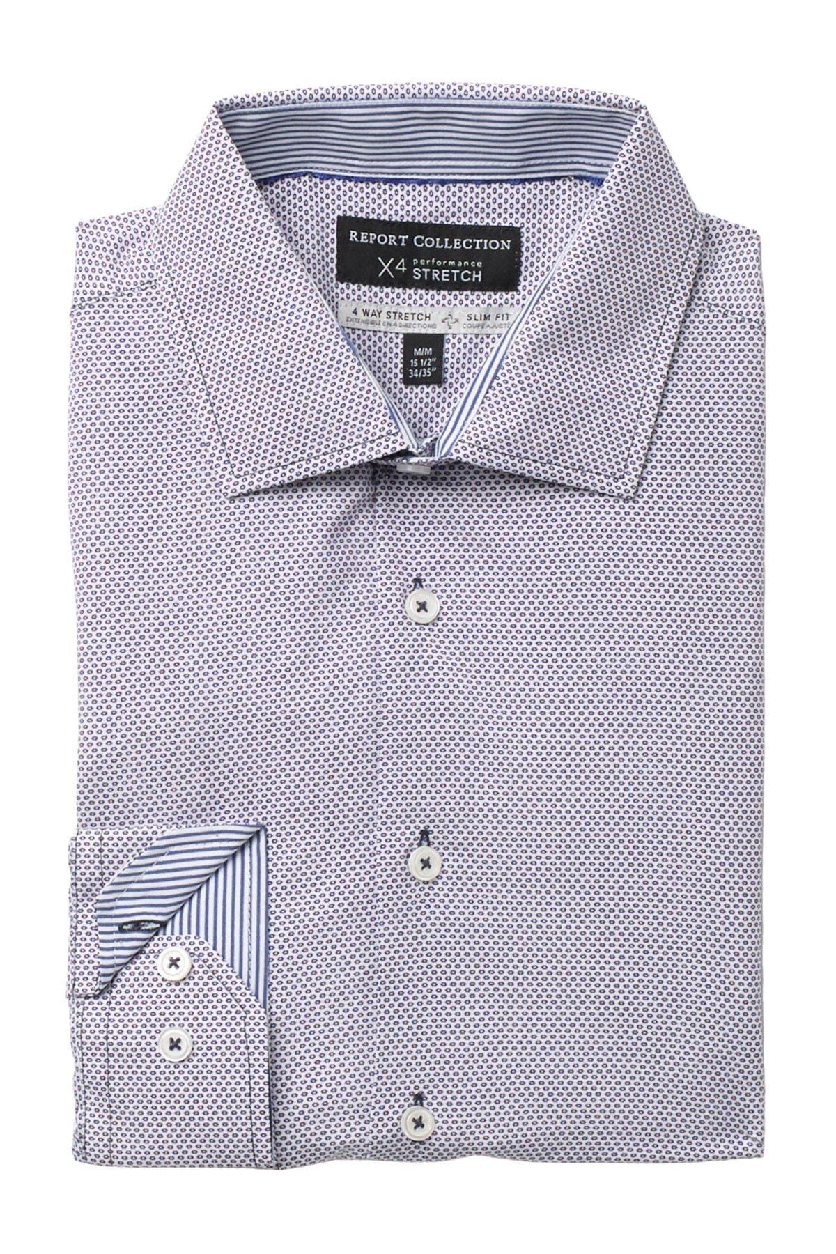 Report Collection Mini Motif Print 4 Way Stretch Slim Fit Dress Shirt