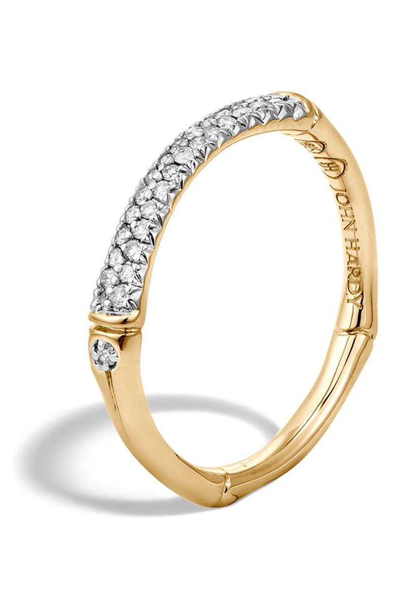 JOHN HARDY Bamboo Gold Diamond Pavé Slim Band Ring, Main, color, GOLD/ DIAMOND