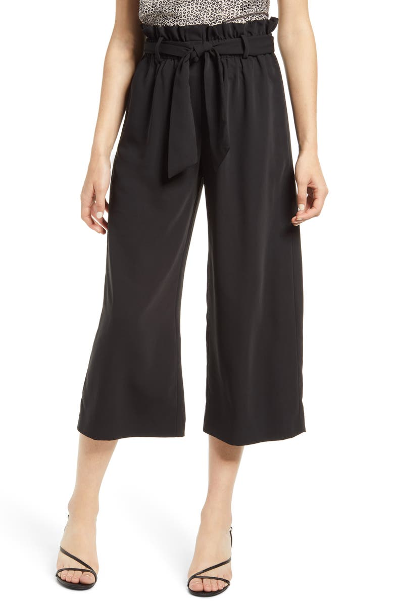 WAYF x BFF Maddie Paperbag Waist Culottes, Main, color, BLACK