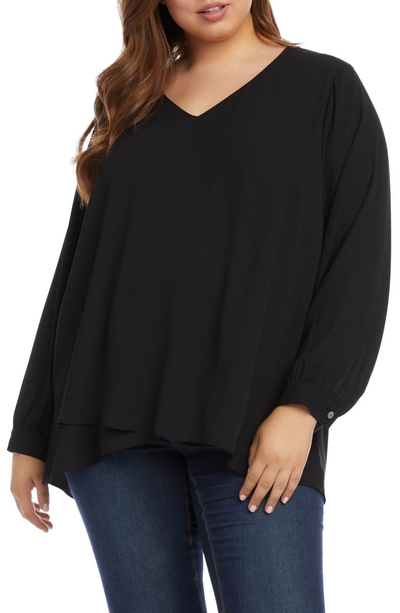 KAREN KANE Split Back Crossover Top, Main, color, BLACK