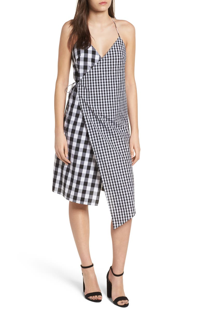 BP. Mixed Gingham Print Wrap Dress, Main, color, 001