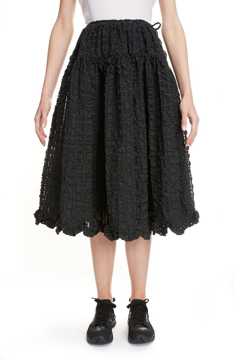 CECILIE BAHNSEN Kasumi Seersucker Skirt, Main, color, BLACK