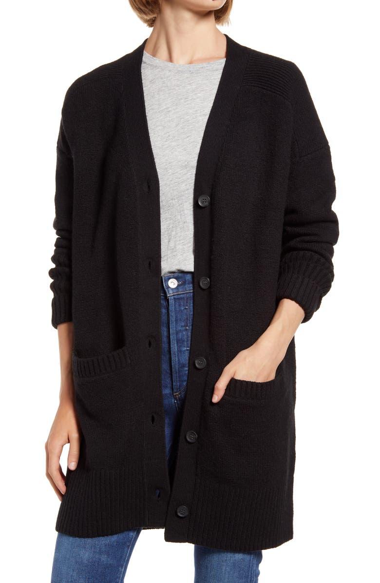 TREASURE & BOND Longline Cardigan, Main, color, BLACK