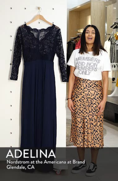 Long Sleeve Lace & Chiffon Gown, sales video thumbnail