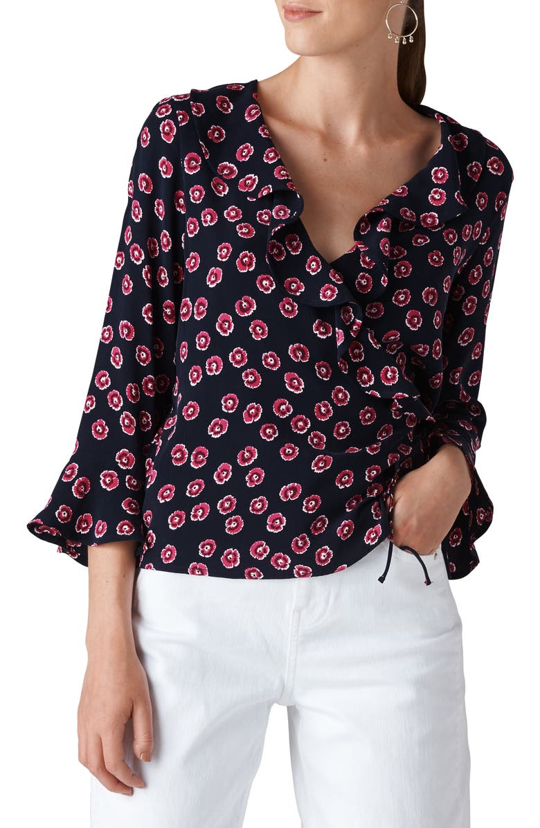 WHISTLES Lenno Print Wrap Top, Main, color, 650