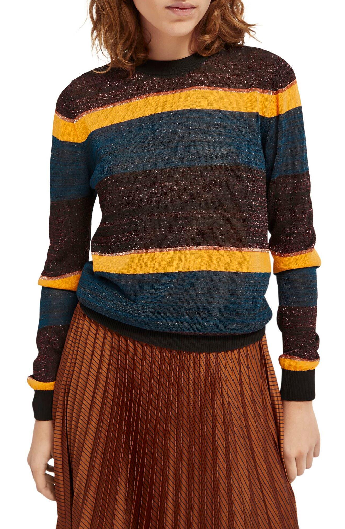 Image of Scotch & Soda Metallic Stripe Crewneck Sweater