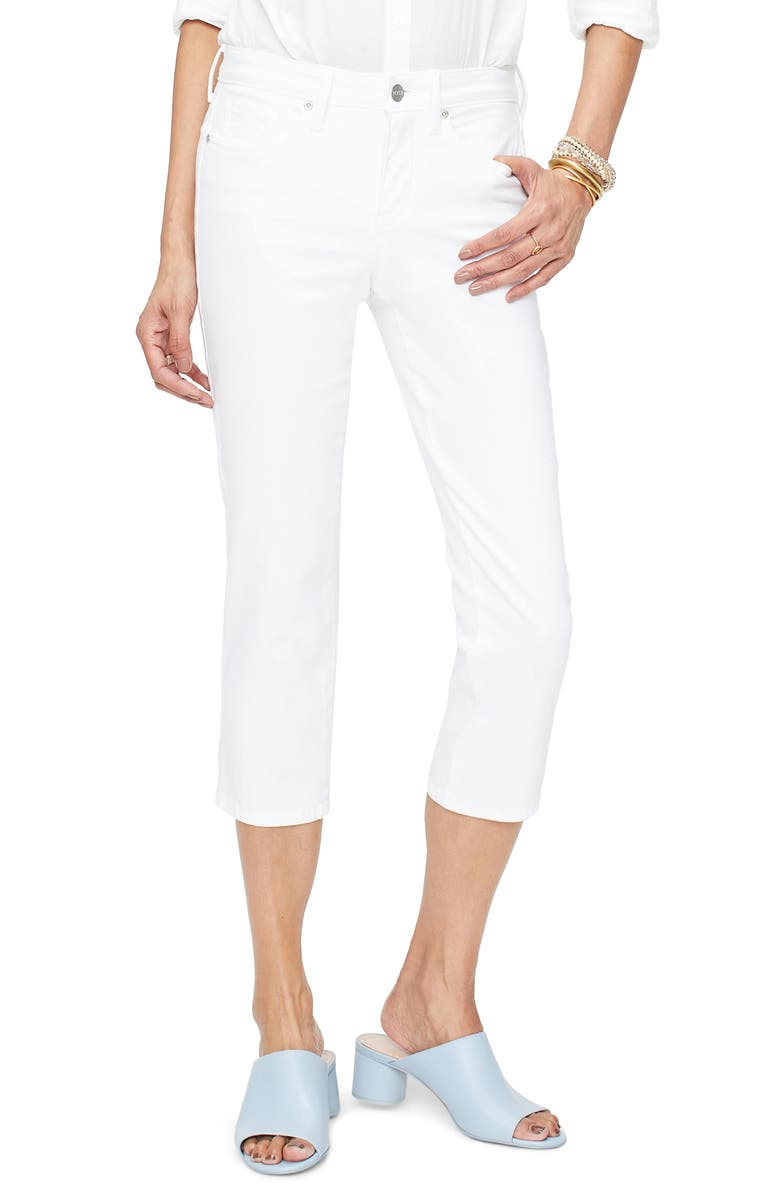NYDJ Side Slit Capri Skinny Jeans, Main, color, OPTIC WHITE