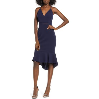 Love, Nicki Lew Illusion Detail Flounce Dress, Blue