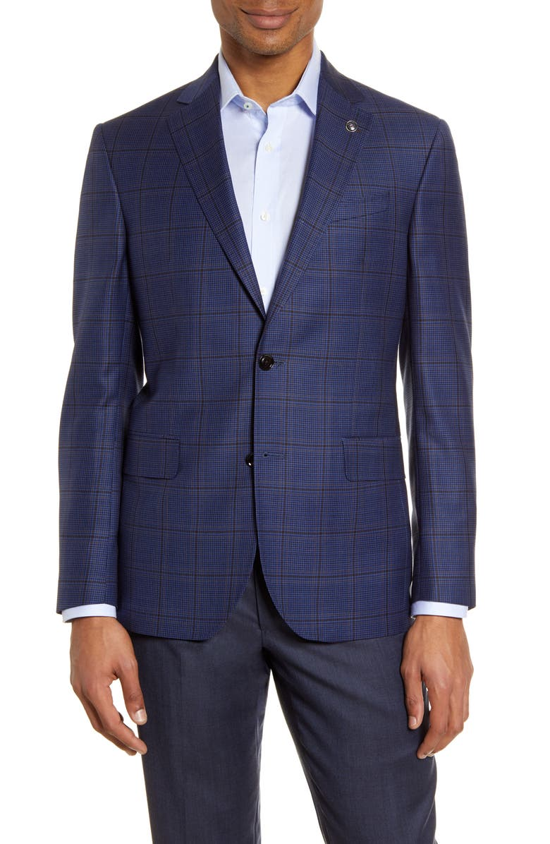 TED BAKER LONDON Jay Trim Fit Houndstooth Wool Sport Coat, Main, color, BLUE