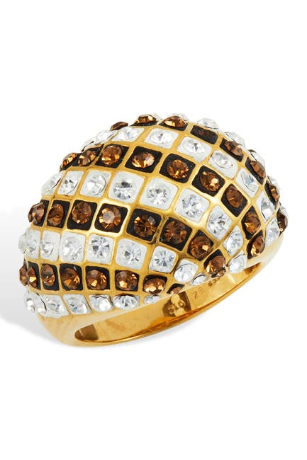Image of Savvy Cie 18K Yellow Gold Plated Italian Crystal Dome Ring