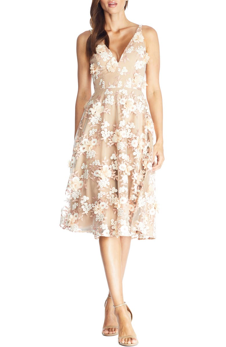 DRESS THE POPULATION Elisa Floral Appliqué Embroidered Fit & Flare Dress, Main, color, DUSTY PINK MULTI