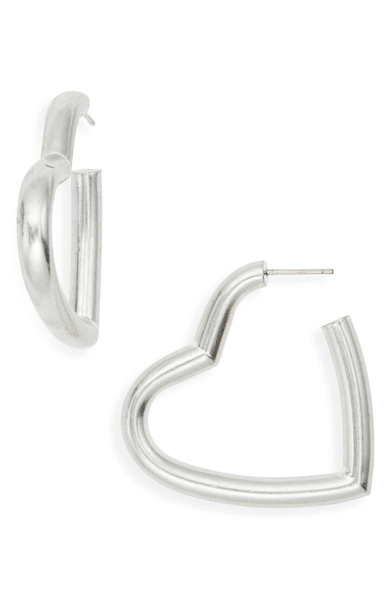 MADEWELL Chunky Heart Hoop Earrings, Main, color, 040