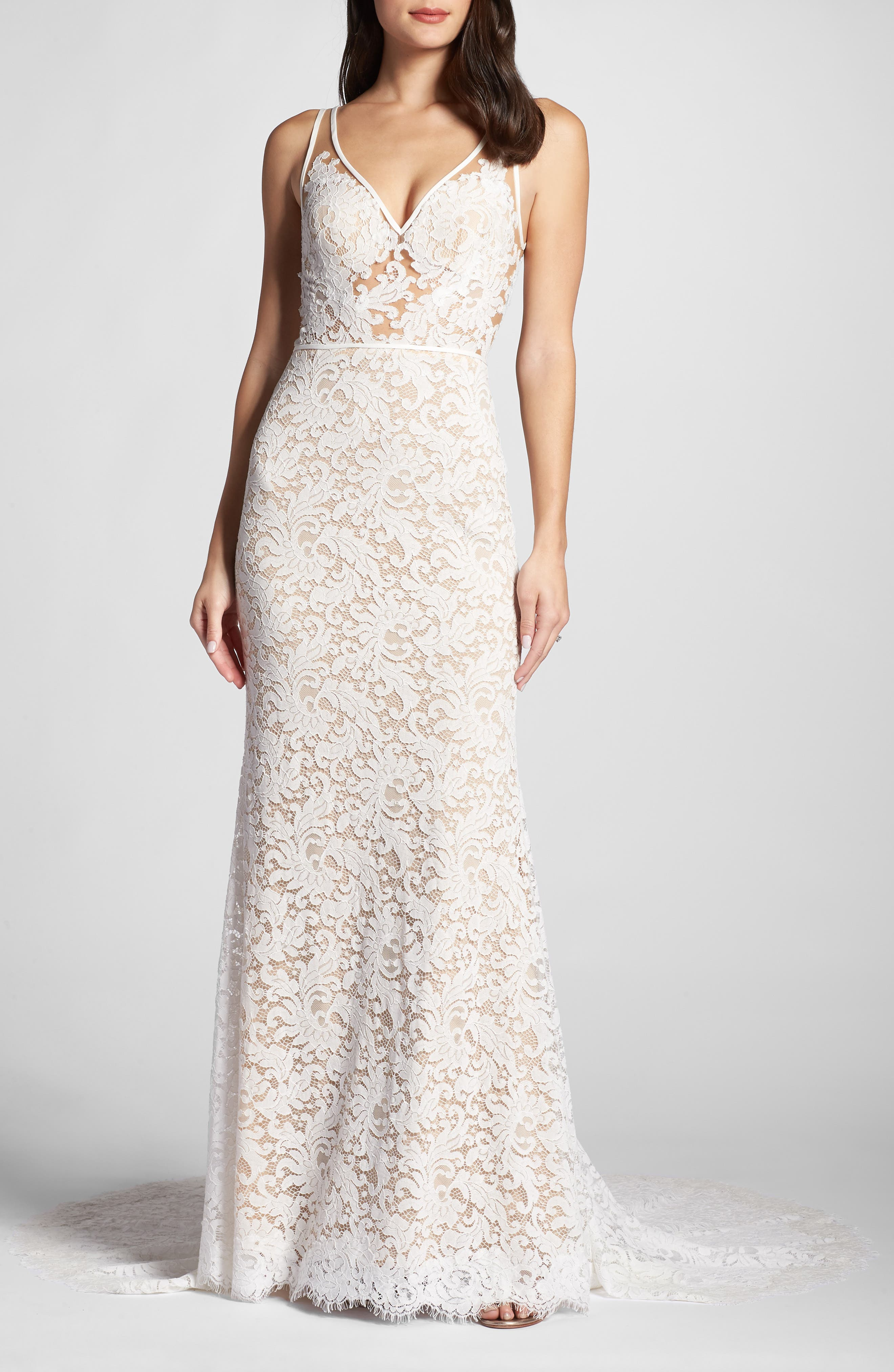 ,                             Derica Lace Gown,                             Main thumbnail 1, color,                             IVORY / NUDE