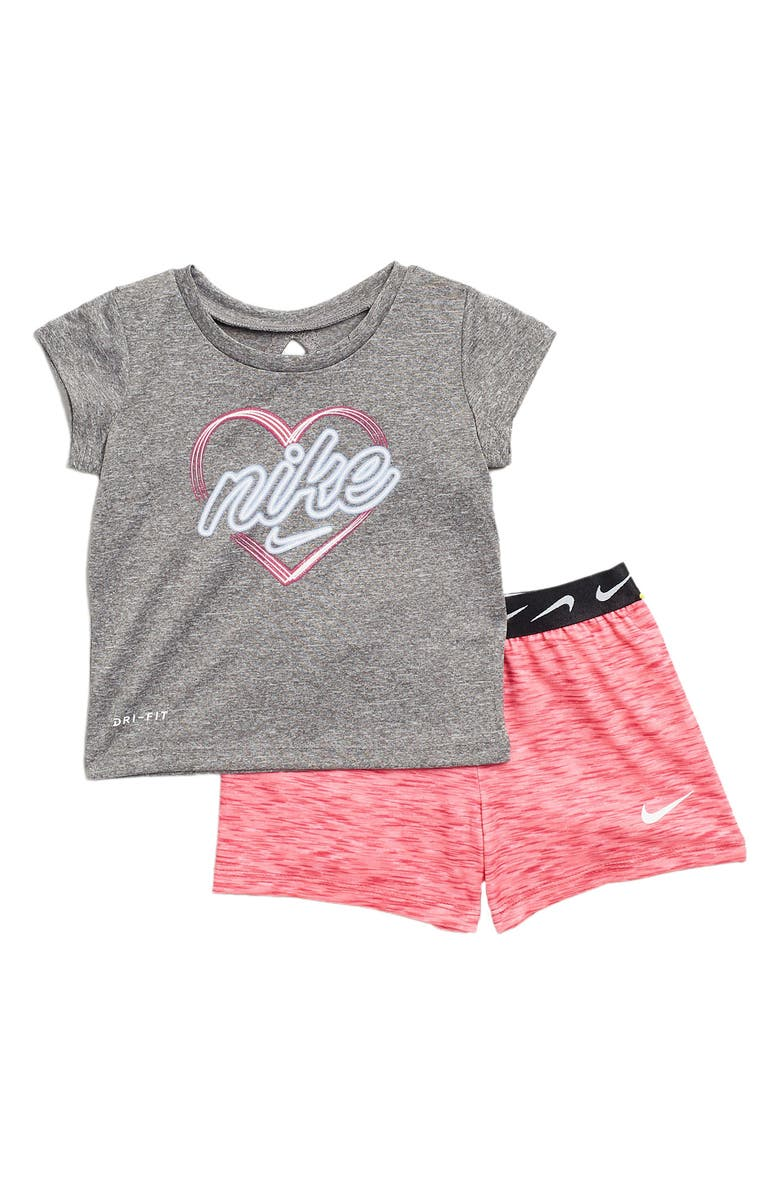 NIKE Graphic Top & Shorts 2-Piece Set, Main, color, FIREBERRY