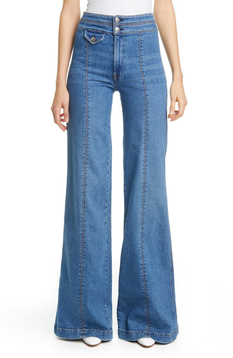 VERONICA BEARD Ember Seam Detail High Waist Wide Leg Jeans, Main, color, POWDERED OCEAN