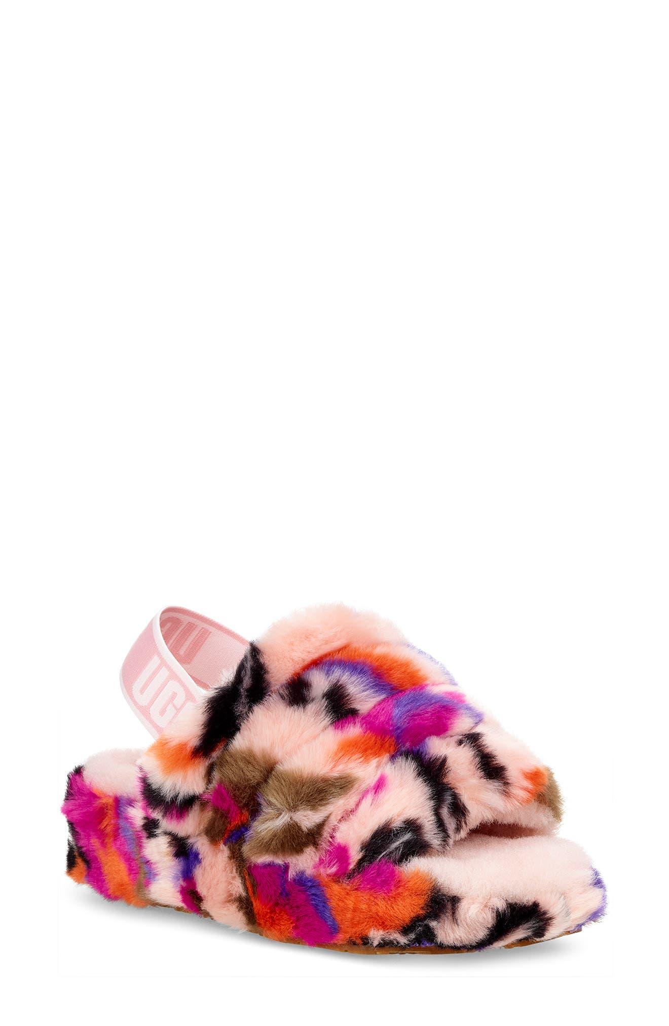 Ugg Fluff Yeah Genuine Shearling Slide Slipper, Pink