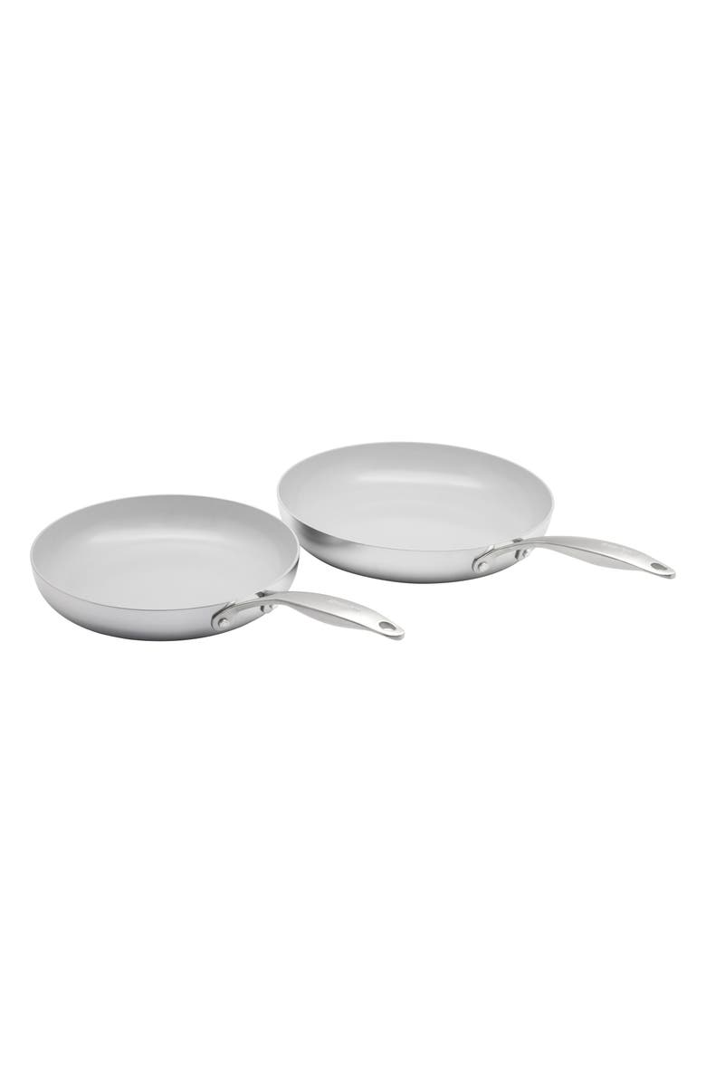 GREENPAN Venice Pro 10-Inch & 12-Inch Multilayer Stainless Steel Ceramic Nonstick Frying Pan Set, Main, color, STAINLESS STEEL