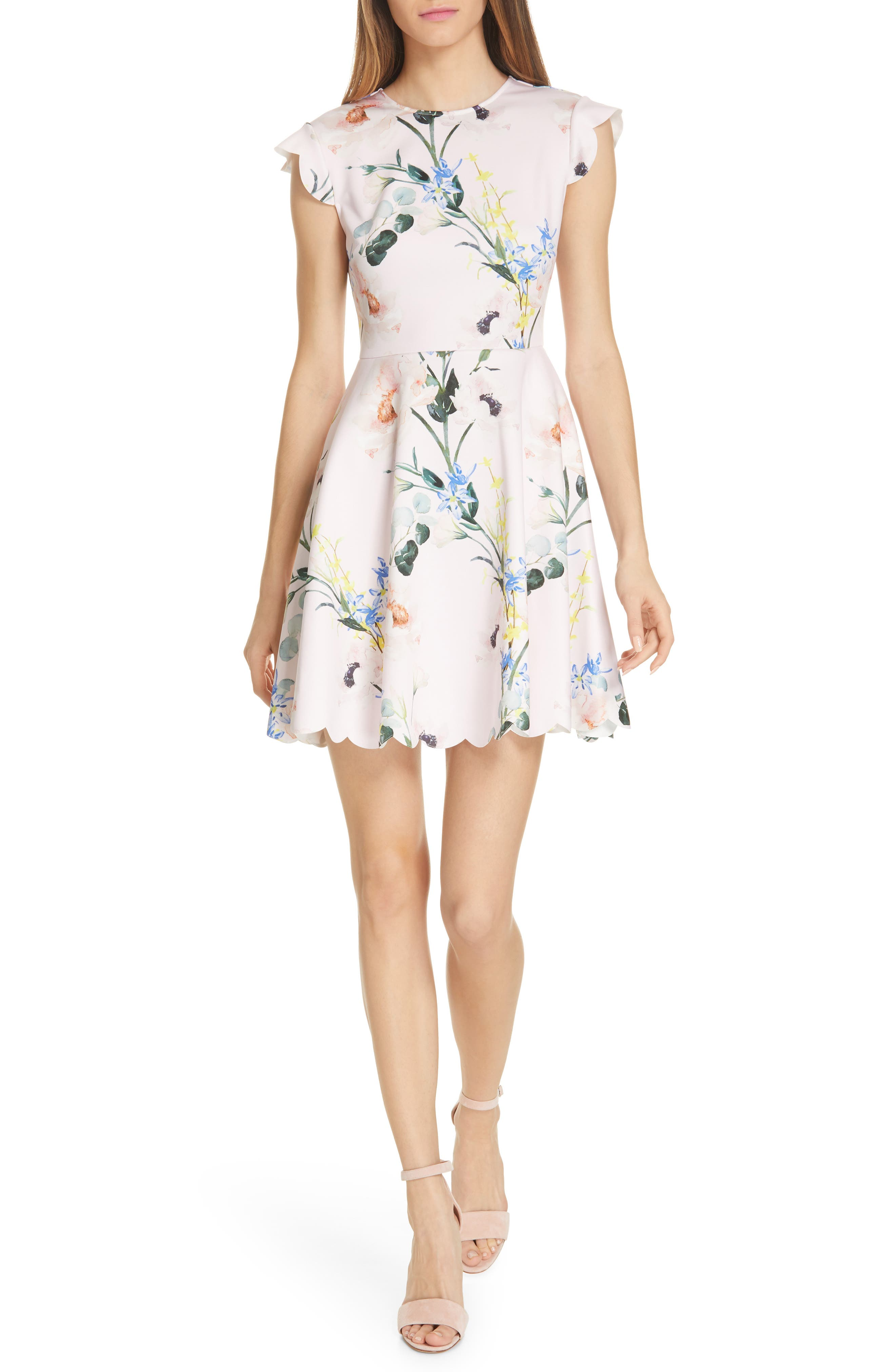 Ted Baker London Karsali Elegance Scallop Skater Dress, Pink