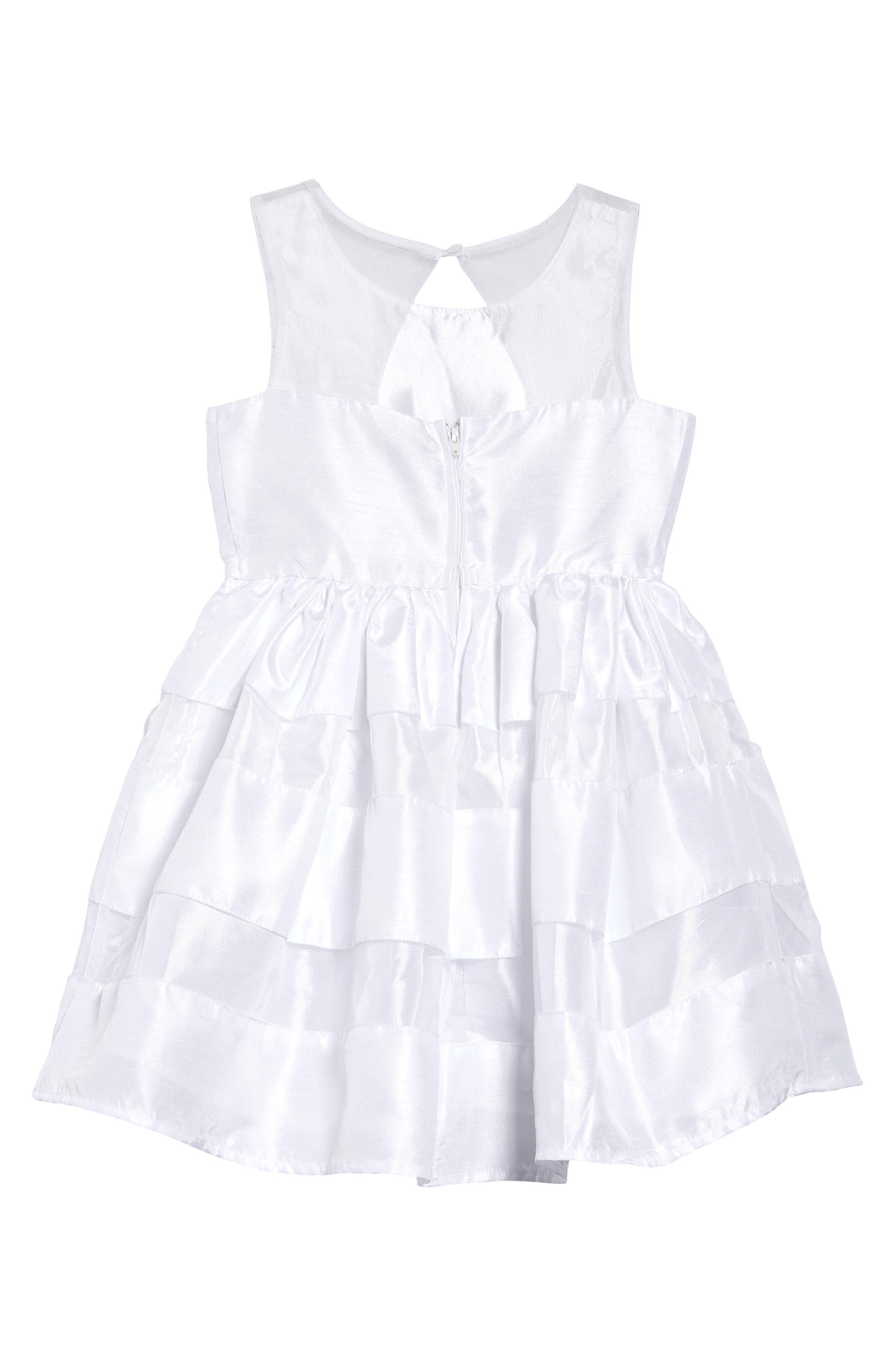 ,                             Shadow Stripe Bow Dress,                             Alternate thumbnail 2, color,                             WHITE