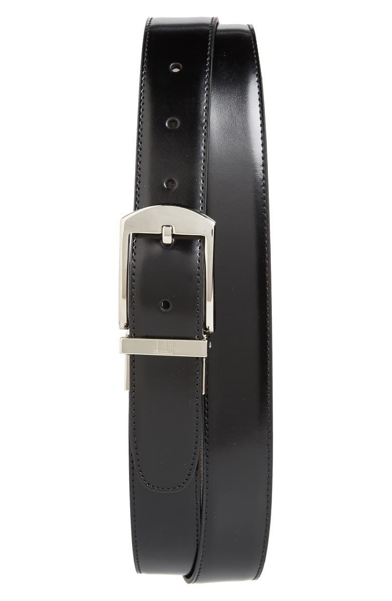 DUNHILL Classic Leather Belt, Main, color, 001