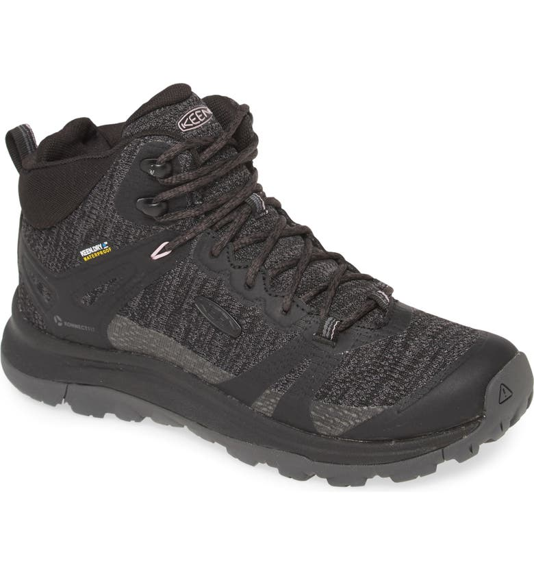 KEEN Terradora II Waterproof Winter Hiking Boot, Main, color, BLACK/ MAGNET FAUX LEATHER