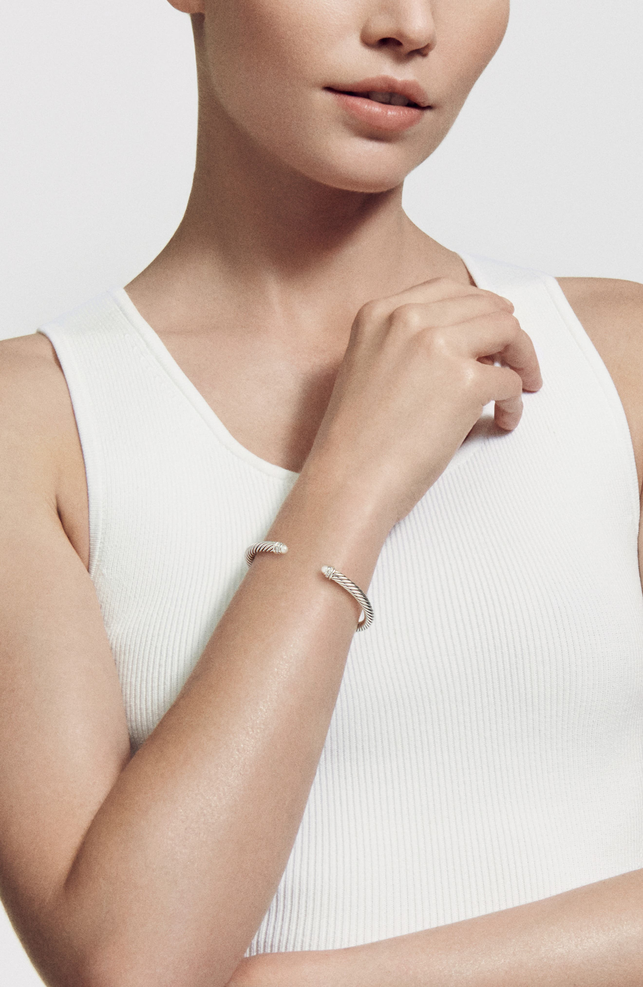,                             Cable Classics Bracelet with Semiprecious Stones & Diamonds, 5mm,                             Alternate thumbnail 2, color,                             PEARL