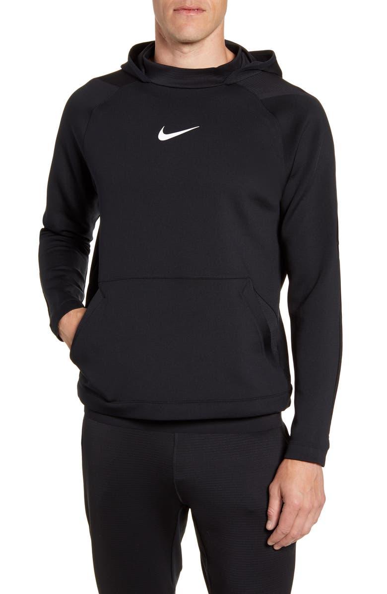 NIKE Pro Dri-FIT Fleece Hoodie, Main, color, BLACK/ BLACK