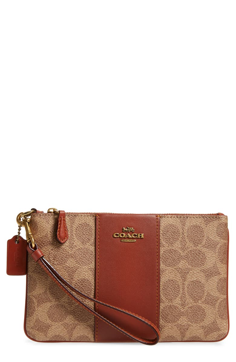 COACH Small Signature Canvas & Leather Wristlet, Main, color, 206