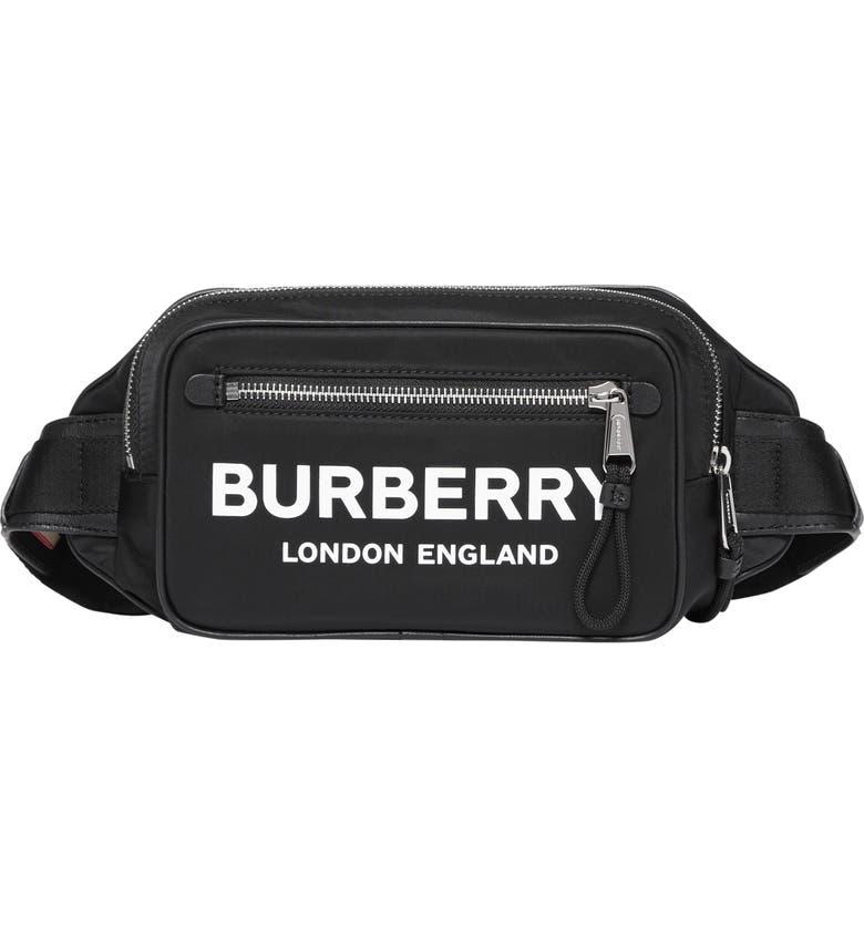 BURBERRY Logo Nylon Belt Bag, Main, color, BLACK