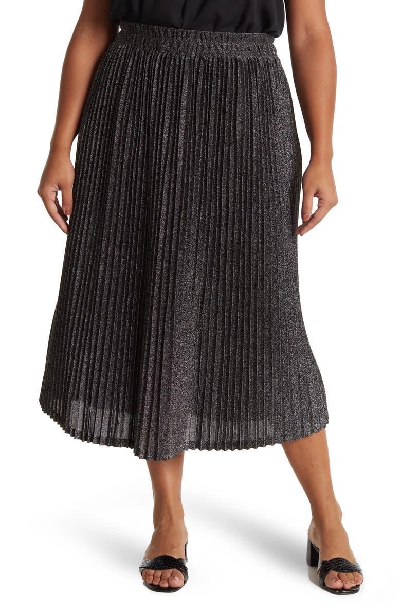 PLEIONE Lurex Pleated Midi Skirt, Main, color, BLACK