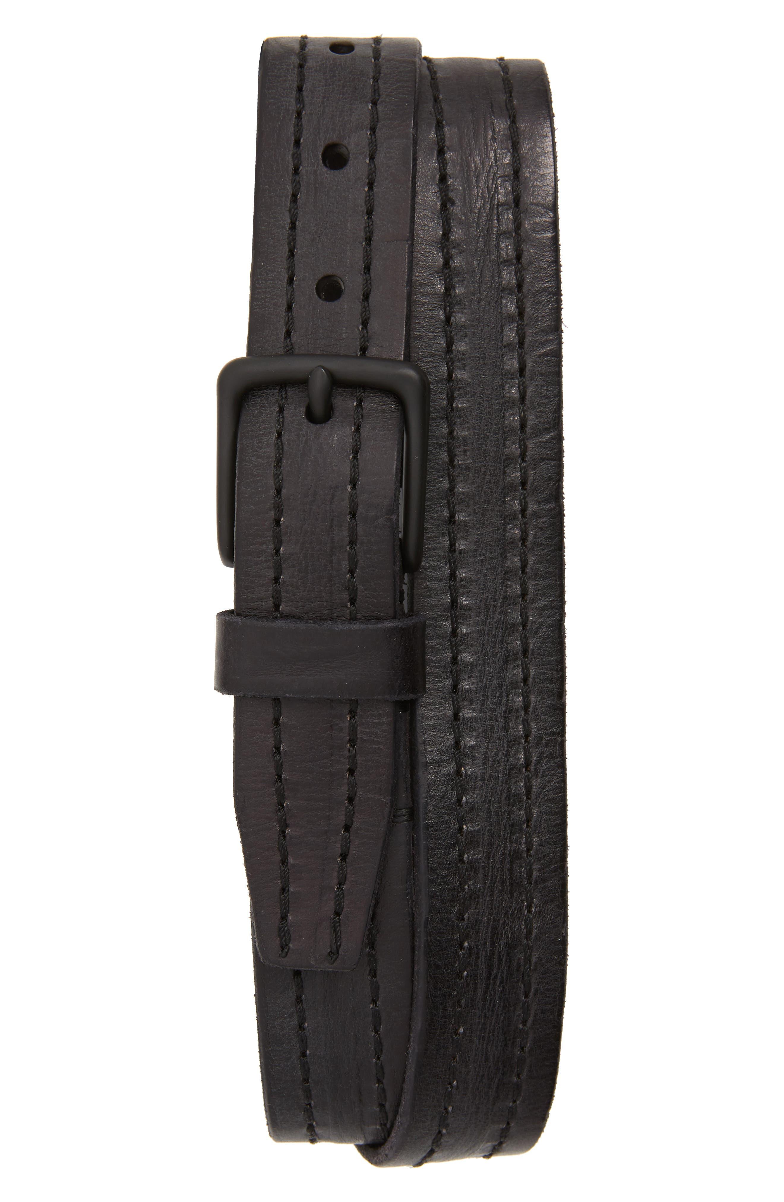 Allsaints Stitched Leather Belt, Black