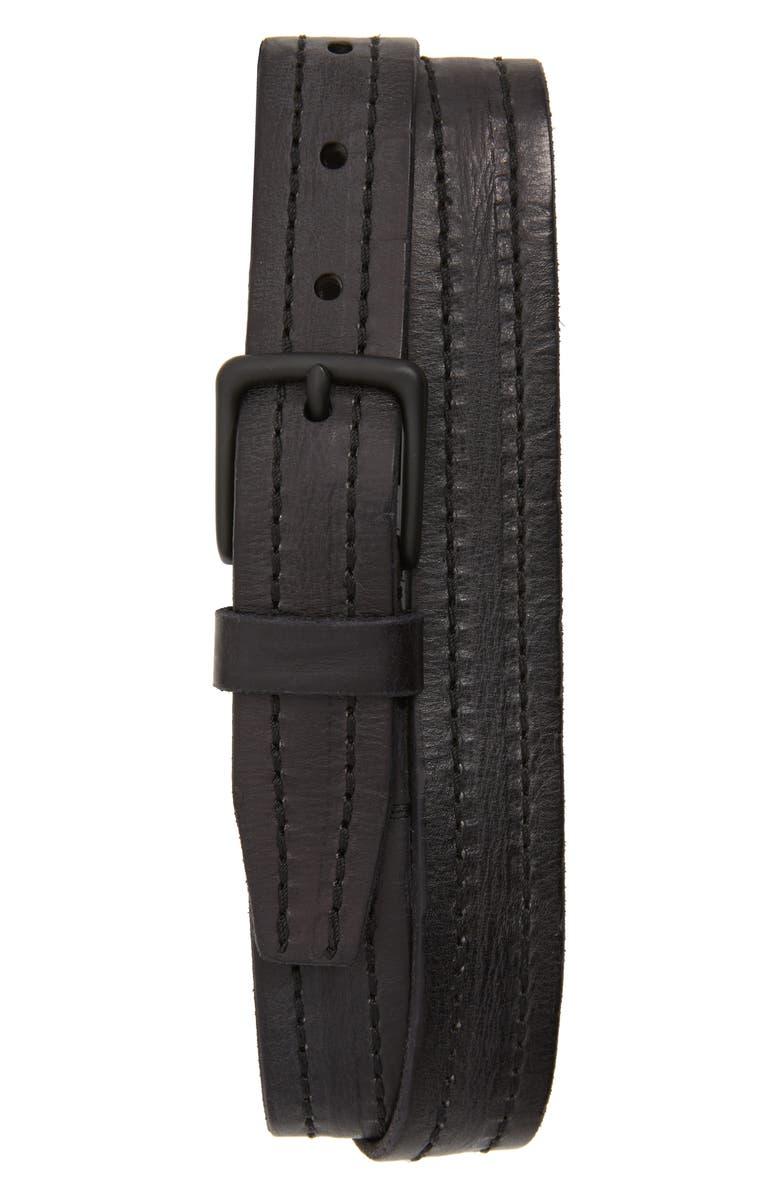 ALLSAINTS Stitched Leather Belt, Main, color, BLACK