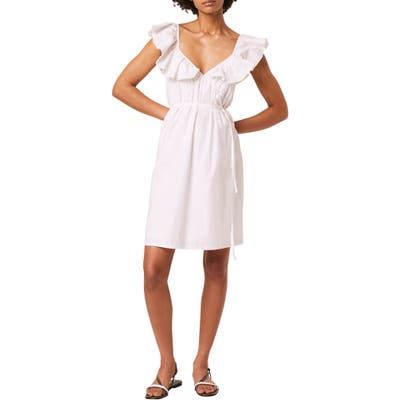 French Connection Azaa Poplin Flutter Sleeve Dress, White