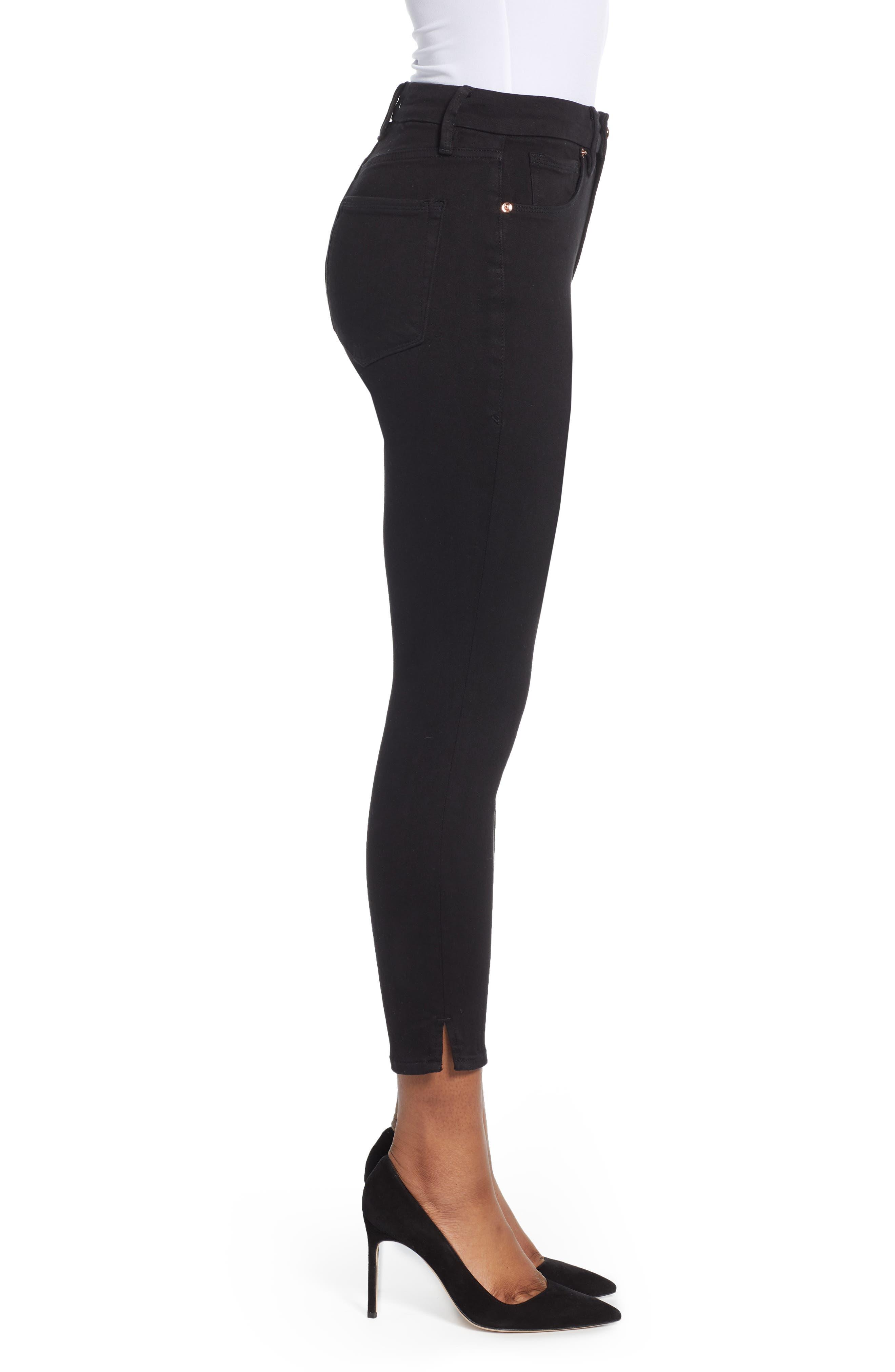 ,                             Good Legs Split Hem Ankle Skinny Jeans,                             Alternate thumbnail 6, color,                             BLACK001