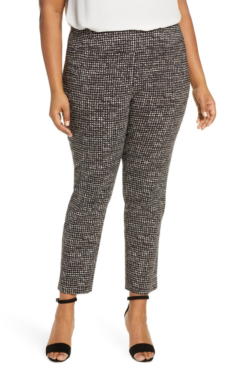 NIC+ZOE Abstract Tweed Print Wonder Stretch Trousers, Main, color, 960