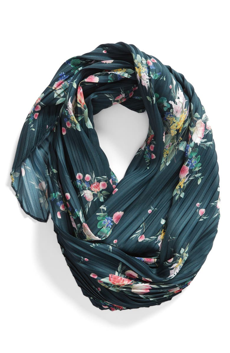 TED BAKER LONDON Flourish Pleat Diamond Silk Scarf, Alternate, color, MID-GREEN