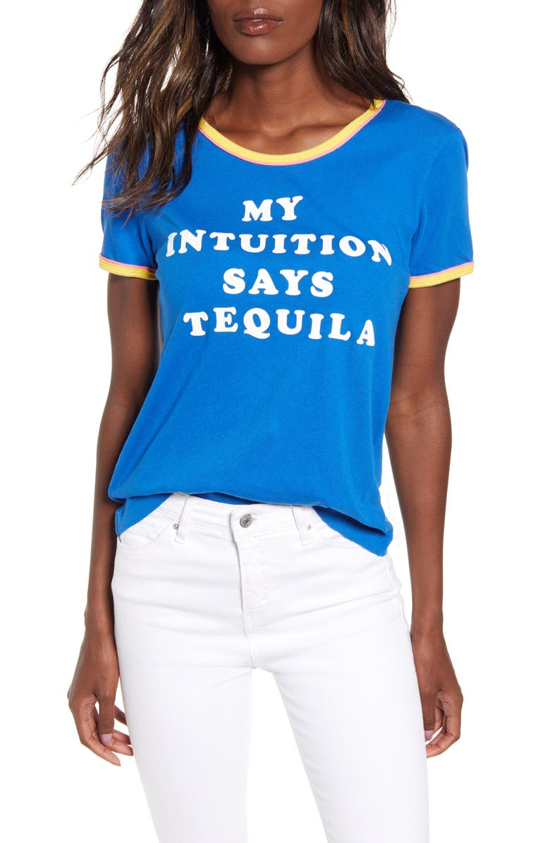WILDFOX Tequila Intuition Tee, Main, color, SLATE/ BUBBLE GUM/ CANARY