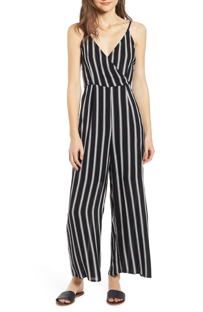 NOISY MAY Stripe Woven Jumpsuit, Main, color, 001