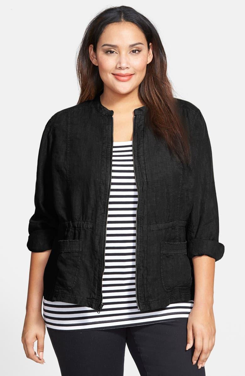 CASLON<SUP>®</SUP> Linen Utility Jacket, Main, color, 001